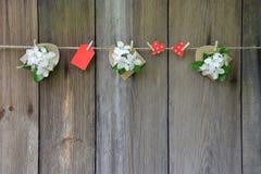 Coeur rouge et pommier fleurissant sur le fond en bois Amour Photos stock