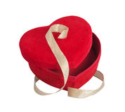 Coeur rouge et ruban d'or Photographie stock libre de droits