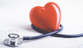 Coeur rouge et un stéthoscope sur le bureau Photo libre de droits