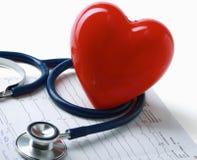Coeur rouge et un stéthoscope sur le cardiagram Images libres de droits