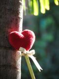 Coeur rouge fait d'une serviette, bâton avec le crayon, ruban de lien, se penchant contre un arbre Photos libres de droits
