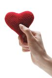 Coeur rouge fait main dans la main d'une femme Image stock