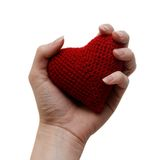 Coeur rouge fait main dans la main d'une femme Photos libres de droits