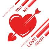 Coeur rouge impressionnant d'amour avec une flèche pour le romance Photos stock