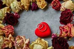 Coeur rouge lumineux avec des anneaux de mariage sur le fond concret gris Photo libre de droits