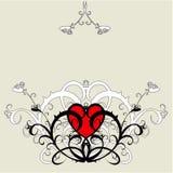 Coeur rouge (ornement de fleur) Photographie stock libre de droits