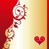 Coeur rouge (ornement de fleur) Image stock