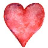 Coeur rouge peint à la main d'aquarelle Images libres de droits