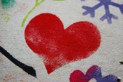 Coeur rouge peint Photos libres de droits