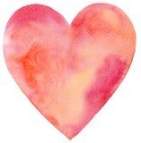 Coeur rouge peint par aquarelle Photos libres de droits