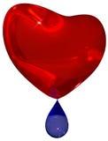 Coeur rouge pleurant avec la larme bleue Images stock