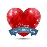 Coeur rouge polygonal Images libres de droits