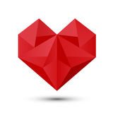 Coeur rouge polygonal Images stock