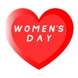 Coeur rouge pour le jour des femmes avec le chemin deux et une inscription blanche de suffisance Image stock