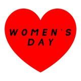 Coeur rouge pour le jour des femmes avec le chemin deux et une signature noire de suffisance Photos libres de droits