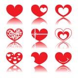 Coeur rouge réglé Photo libre de droits