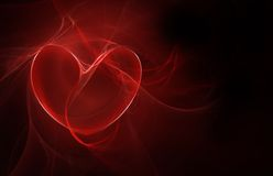 Coeur rouge rougeoyant Photo stock