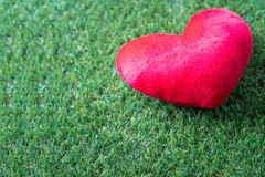 Coeur rouge sur l'herbe verte photo stock