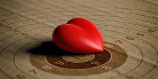 Coeur rouge sur la cible de tir avec des nombres, réutilisant le papier de carton illustration 3D illustration libre de droits
