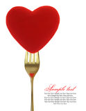 Coeur rouge sur la fourchette photos stock