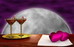 Coeur rouge sur le bois - fond de lune Photo libre de droits