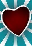 Coeur rouge sur le fond dépouillé Photo libre de droits