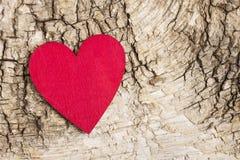 Coeur rouge sur le fond d'écorce Symbole de l'amour Photo libre de droits