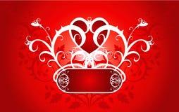 Coeur rouge sur un ornement de fleur Photographie stock libre de droits
