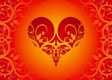Coeur rouge sur un ornement de fleur Image stock