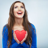 Coeur rouge Symbole d'amour Portrait de belle prise Valent de femme Photographie stock libre de droits