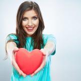 Coeur rouge Symbole d'amour Portrait de belle prise Valent de femme Photographie stock