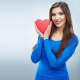 Coeur rouge Symbole d'amour Portrait de belle prise Valent de femme Photos stock