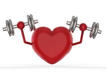 Coeur rouge tenant des haltères Images libres de droits