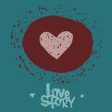 Coeur rouge tiré par la main Photo libre de droits