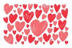 Coeur rouge tiré par la main, ensemble d'éléments Illustration de vecteur de griffonnage illustration libre de droits