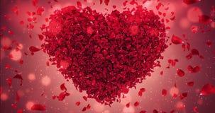 Coeur rouge Valentine Wedding Background Loop 4k de Rose Flower Falling Petals Love illustration stock