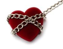 Coeur rouge verrouillé avec le réseau Photos libres de droits
