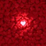 Coeur rougeoyant parmi beaucoup Image stock