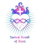 Coeur sacré de Jésus Illustration de vecteur dans l'isola vif de couleurs illustration libre de droits