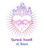 Coeur sacré de Jésus Illustration de vecteur dans l'isola vif de couleurs illustration de vecteur