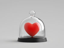 Coeur sous cloche en verre en verre Photo stock