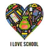 Coeur stylezed par vecteur avec des articles de papeterie d'école Photos stock