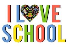 Coeur stylezed par vecteur avec des articles de papeterie d'école Photographie stock libre de droits