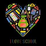 Coeur stylezed par vecteur avec des articles de papeterie d'école Images stock