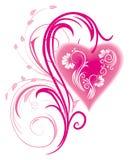 Coeur stylisé et ornament_3 floral Image stock