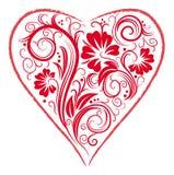 Coeur stylisé et ornement floral illustration libre de droits