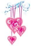 Coeur stylisé et ornement floral illustration stock