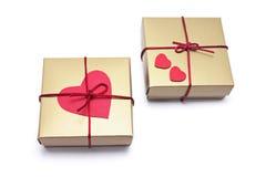 Coeur sur des cadres de cadeau Photographie stock libre de droits