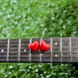 Coeur sur des guitares de cou et ficelles sur l'herbe Photo libre de droits