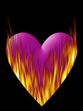 Coeur sur l'incendie dans le rose Images libres de droits